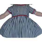Adorable1950's Gray and White Stripe Factory DRESS for P90 Toni!