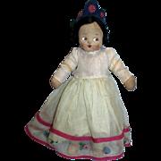 "Vintage 1930's Mollye 14"" Cloth Doll All Original with Side Glancing Eyes!"