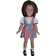 "RARE 14"" Composition Doll with Painted Side Glancing Eyes, Slim Body, Factory Dress and Original Shoes!"