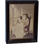 OLD FRAMED PICTURE of Girl with Doll Watkins' Art and Furniture Store Bridgeport, Conn.