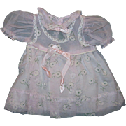 Factory 1950s Pink flocked Daisy Nylon Baby Doll Dress with attached Slip Crisp and Unused!