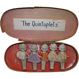 RARE Set of 5 All Bisque Quintuplets in Original Display Box in Excellent Condition!