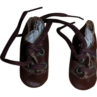 Vintage Brown Oilcloth Leatherette Shoes for small German Bisque Doll Mint!