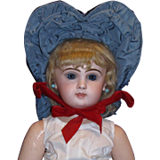 Elaborate Blue Wired Bonnet For your treasured French Bisque Doll!