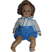 "Madame Alexander 11"" Composition and Cloth Butch Doll all original in Romper/Playsuit and muslin Onesie!"
