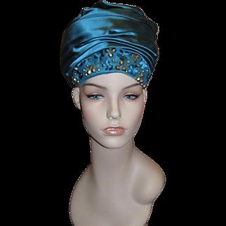 Women's CHRISTIAN DIOR Paris - New York Embellished Chapeaux Turban Hat!