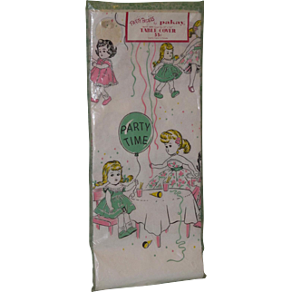 1950's Ginny Parkay Table Cover Paper Tablecloth MINT and NRFP) Never Removed From Package!