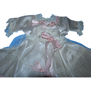 Exquisite 1930s Champagne Slipper Satin Gown with Fancy Pink Satin Bows!