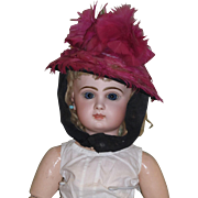 Antique Magenta Feathered Chapeau Bonnet for your treasured Jumeau or other French Bebe!