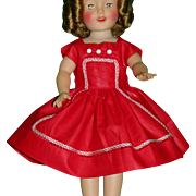 """Vintage 1950's Factory MINT Polished Cotton Valentine DRESS for 12"""" Shirley Temple!"""