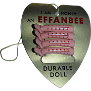 RARE 1950's Effanbee Honey Gold Foil Heart Shaped Hang Tag with Pink Curlers!