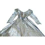 Stunning  Ivory Slipper Satin Factory Gown with pleats and lace for your Fashion Doll!