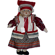 """Vintage 1930's Russian 10"""" Cloth Girl Doll with label Made in Soviet Union All Original!"""