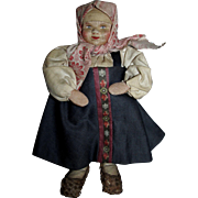 """Vintage 1930's Small 7"""" Cloth Stockinette Russian Peasant Woman!"""