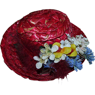 Vintage 1950s Red Straw Doll Hat with Dried Flowers Signed Japan