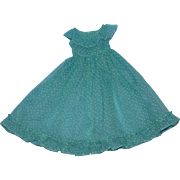 Fancy 1950s Dotted Green Organdy Fashion Gown!