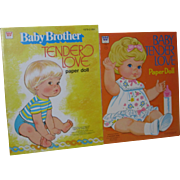 2 Whitman Baby Tenderlove and Baby Brother Tenderlove Paper Dolls Near Mint and Uncut!