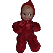 "Knickerbocker 1960's 12"" Rose O'Neill Cameo Doll Co. Tagged Plush Red Kewpie with Rubber Face!"