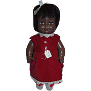 "Vintage 1971 Horsman 15"" BLACK Doll in Beautiful Red Velvet Dress!"