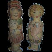 2 RARE Antique 1900's Art Fabric Mills Lithograph Cut and Sew Stuffed Cloth Dolls!