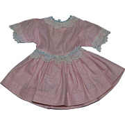Lovely 1950s Ideal P91 TONI Pink Cotton Pique and Lace Dress!