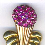 "Large Vintage PENNINO Pink Rhinestone ""Ice Cream Cone"" Pin"