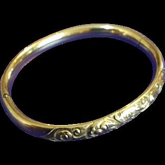 Antique Gold-Filled Austin and Stone Highly-Engraved Bangle Bracelet