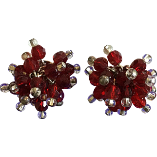 Vintage Marvella Christmas Red and Clear Bead Dangling Clip Earrings