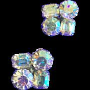 Vintage Weiss AB Large Rhinestone Clip Earrings