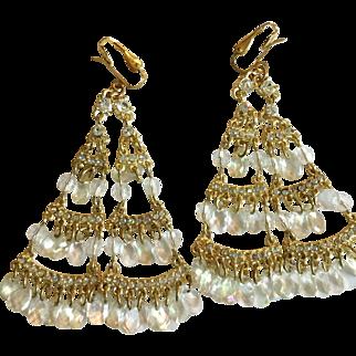 Vintage 1980s Clear Crystal and Rhinestone Dangling Long Earrings
