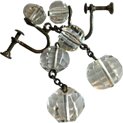 Vintage Sterling and Faceted Clear Crystal Dangling Earrings
