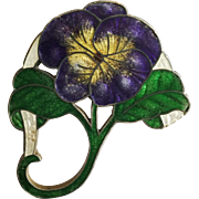 Antique Suffragette Violet, Green, White Sterling Silver and Enamel Pansy Brooch Pin