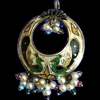 Vintage Sterling, Enamel, and Beaded Peacock Boho Pendant