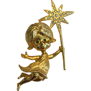 Vintage MYLU Christmas Angel Goldtone Pin With Rhinestones