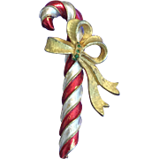 Vintage MYLU Christmas Candy Cane Red and White Rhinestone Pin Brooch