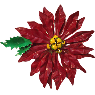 Vintage Large Red Christmas Poinsettia Pin Brooch
