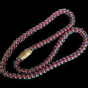 Vintage Garnet Bead Short 15 Inch Necklace