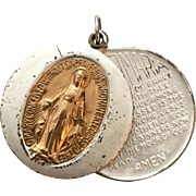 Vintage Religious Catholic Sliding Pendant Medal of The Blessed Virgin Mary, With Ave Maria