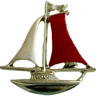 Vintage Gerry's Sailboat Pin Brooch in Red, Cream and Silver