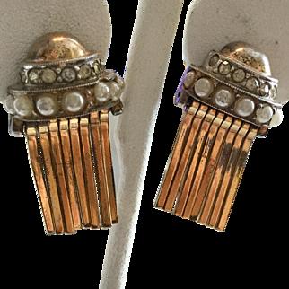 Vintage Kreisler Gold Washed Sterling (Vermeil) 1940s Earrings with Mechanical Dangles, Rhinestones