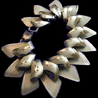 Napier Vintage Silvertone Modern Dimensional Bracelet