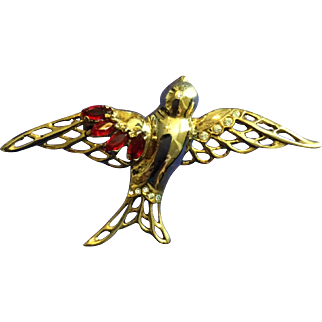 Vintage Jolle Sterling Gold Wash over Sterling (Vermeil) Bird in Flight Pin Brooch with Ruby Red Rhinestones