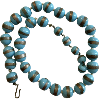 Vintage Blue and Gold Glass Bead Choker or Longer Necklace