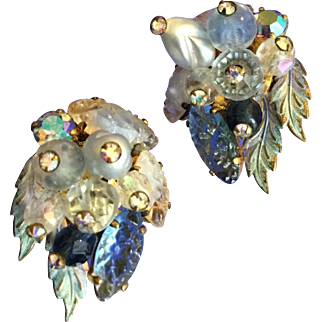 Vintage Shades Of Blue Art Stone West Germany Earrings