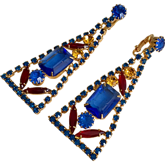 Vintage Juliana Delizza and Elster Very Long Clip Earrings with Blue, Ruby Red, and Yellow Rhinestones