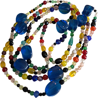 Vintage 57 Inch LONG Multicolor Glass Bead Necklace, Blue, Red, Yellow, Green, Black