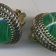 WHITING & DAVIS Vintage Green Glass Orb Earrings