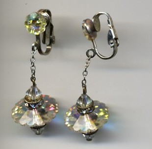 Rainbow Crystal Dangling Clip Earrings From Rubylane Sold