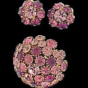 Warner Vintage Domed Pin Brooch and Earrings: Three Shades of Pink Purple