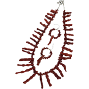"""Sponge Coral and Sterling 23"""" Necklace and Pierced Earrings"""